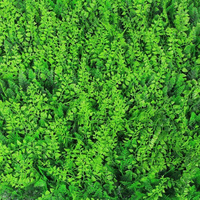 Artificial mixed wavy fern hedge panel