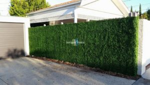 Artifiical boxwood hedge panels on a fence