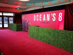 Fake hedges for movie premiere as a barrier