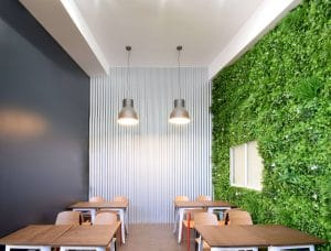 Green wall for a cafe