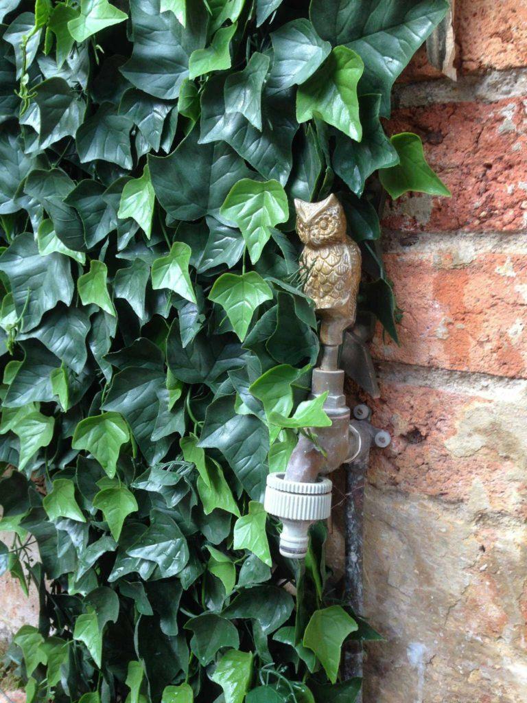 artificial green wall beside owl faucet