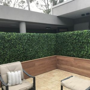 Artificial Jasmine Panels constructed onto timber planters for body corporate privacy