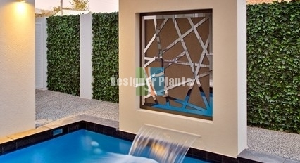 Faux Ivy Pool Side Wall and Feature Fountain with Fake Vertical Gardens