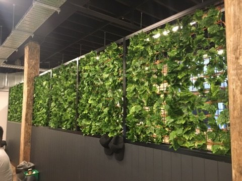 Artificial ivy garlands used in an airport lounger