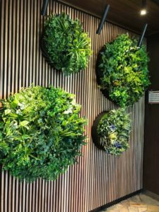Artificial green wall discs for hotels