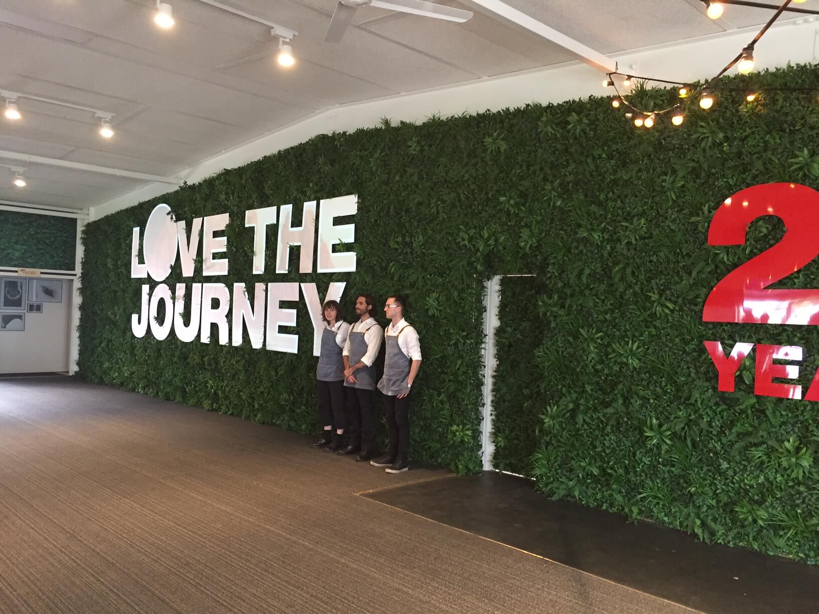 Fake plant wall used for an event opening
