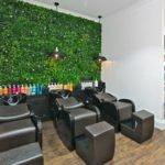 Hair salon green wall panels