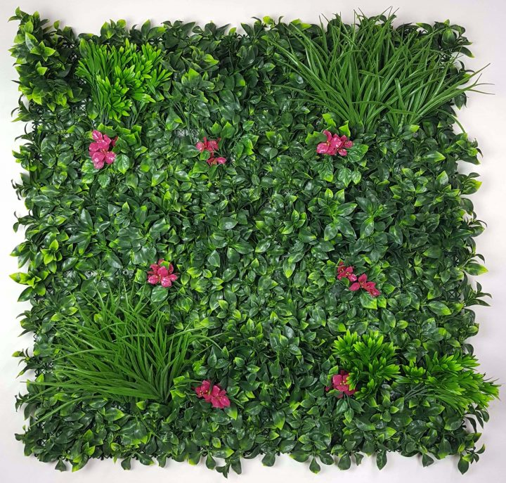 Stunning green wall with pink flower
