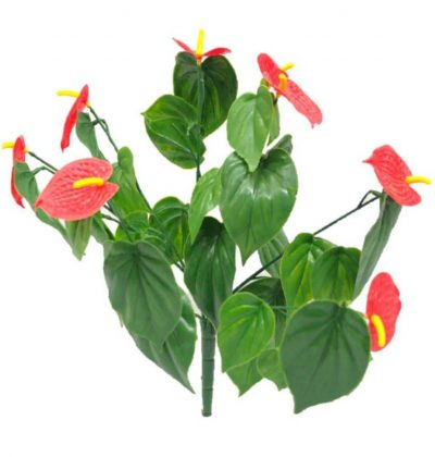 Artificial Plant-Red Anthurium Stem UV Resistant 35cm