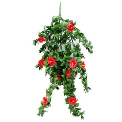 HANGING RED ROSE STEM UV RESISTANT 85cm