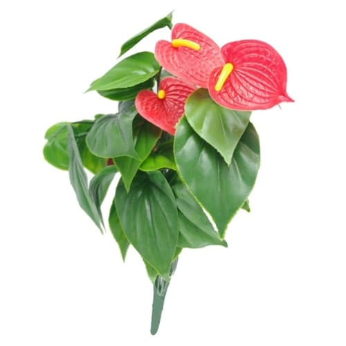 ARTIFICIAL RED ANTHURIUM BUNCH UV RESISTANT