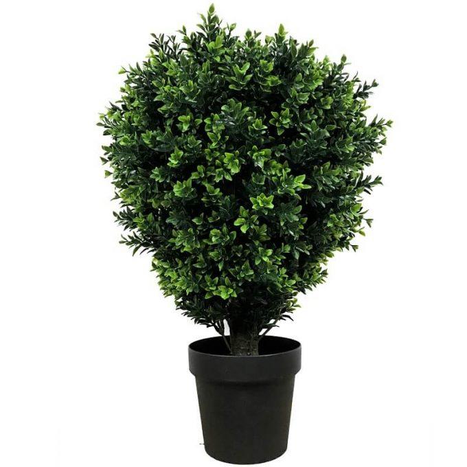artificial UV shrub in a pot