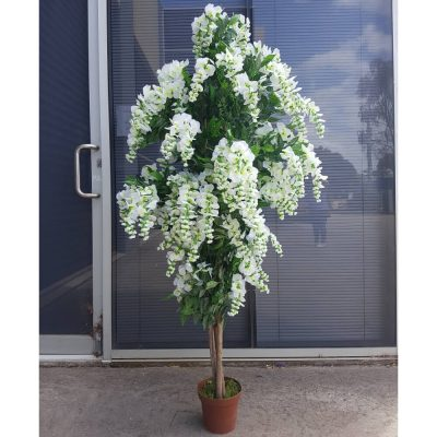 wedding white flowering fake wisteria tree