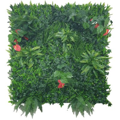 red flowering artificial vertical garden panel