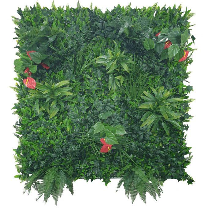 red flowering artificial vertical garden panel