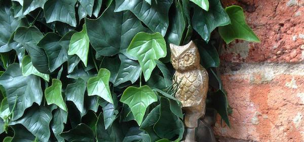 FEATURED - Fake ivy on a brick wall with an small owl sculpture