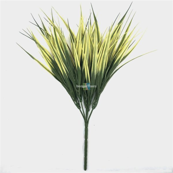 Faux artificial green and yellow grass stem UV
