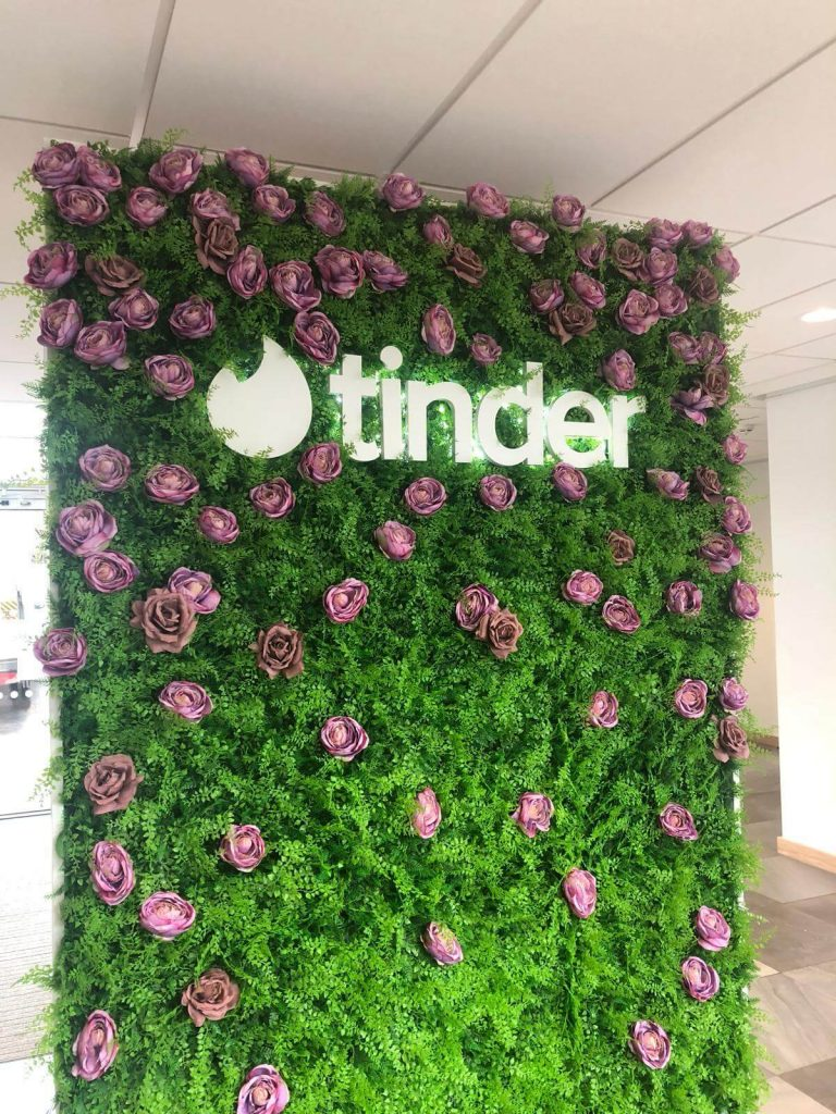 mixed fern green wall and hedge panels with roses