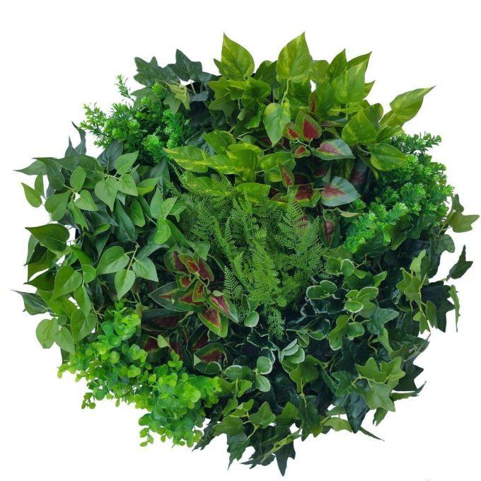 Artificial Plant-Artificial Green Wall Disc Art 60cm Mixed Fern & Ivy (Fresh White)