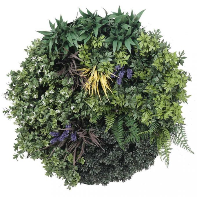 fake artificial green wall with frame