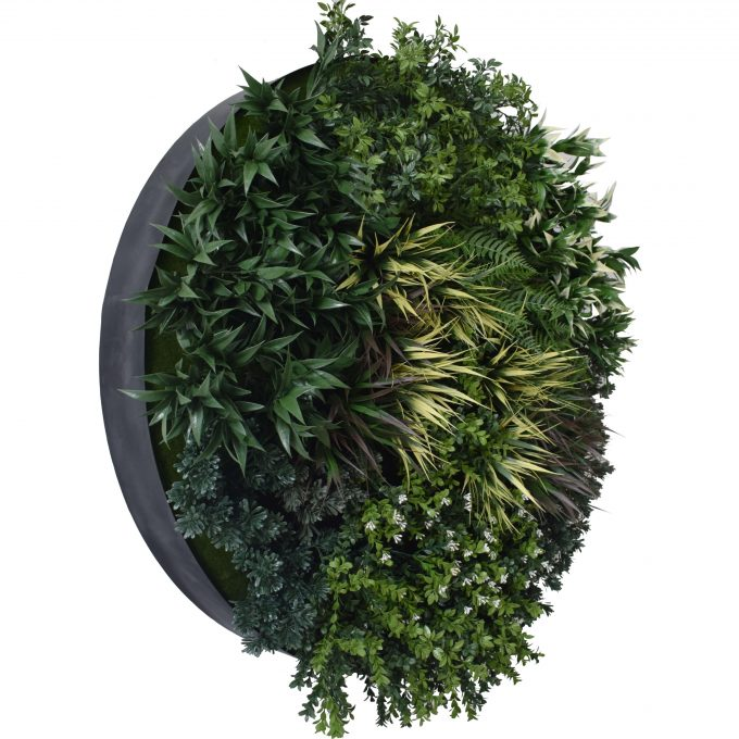 Black green wall disc art with fake plants