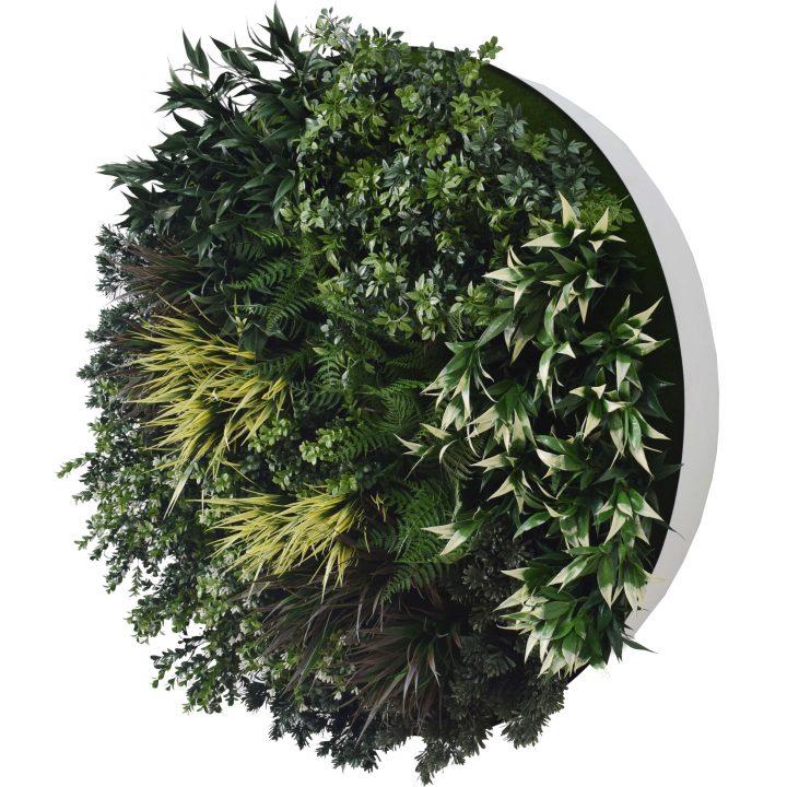 White Disc Green Field Wall Art 100cm