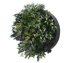 Interior design green wall disc
