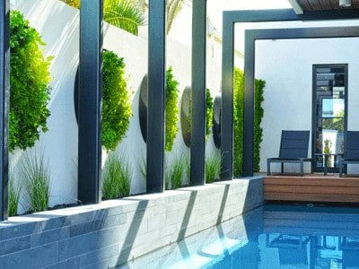 Artificial green wall disks near pool for property value and home