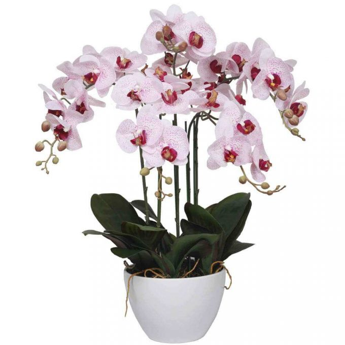 artificial orchid - potted faux pink orchid