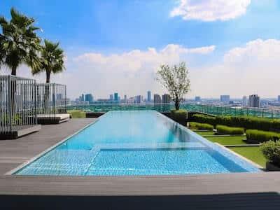 Minimalist pool side landscape