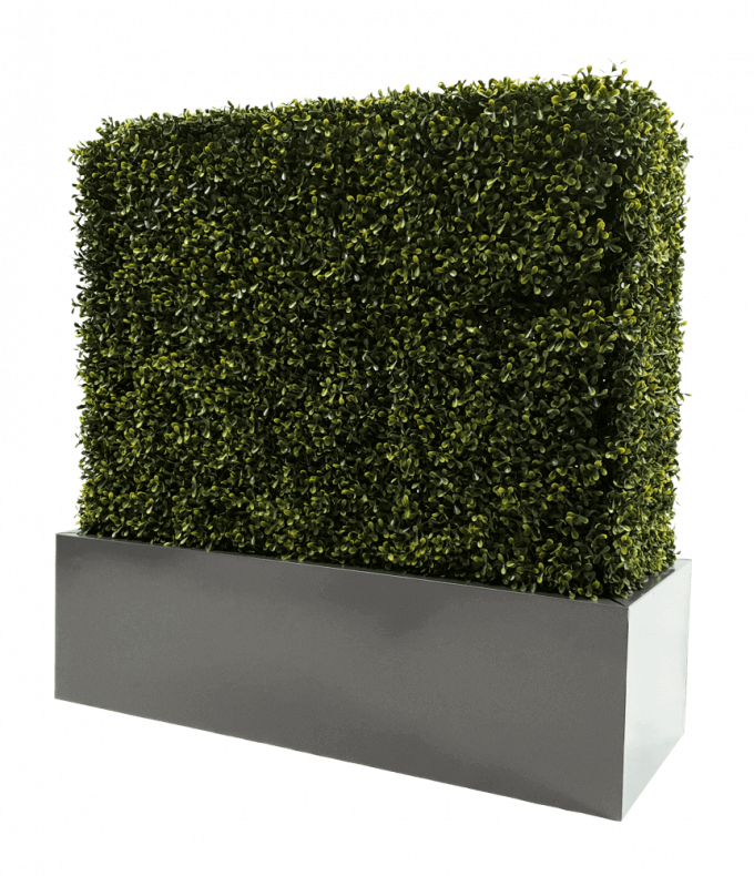 Metal planter for artificial hedges