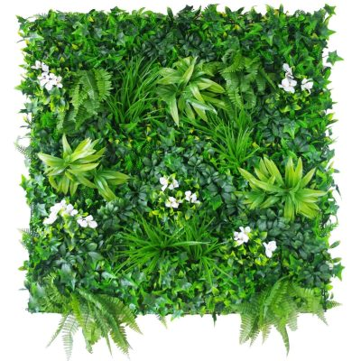 fake flowers attached onto a fake green wall panel