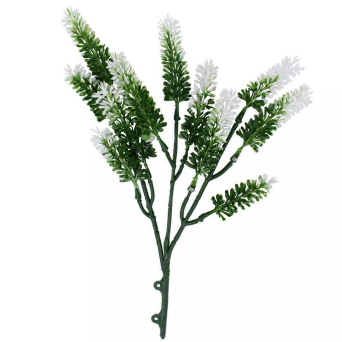 Small white artificial lavender plant stem