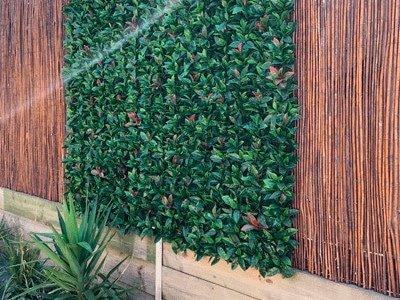 Green wall on bamboo fence - artificial vertical garden panel