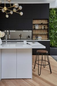 White oasis commercial kitchen green walls