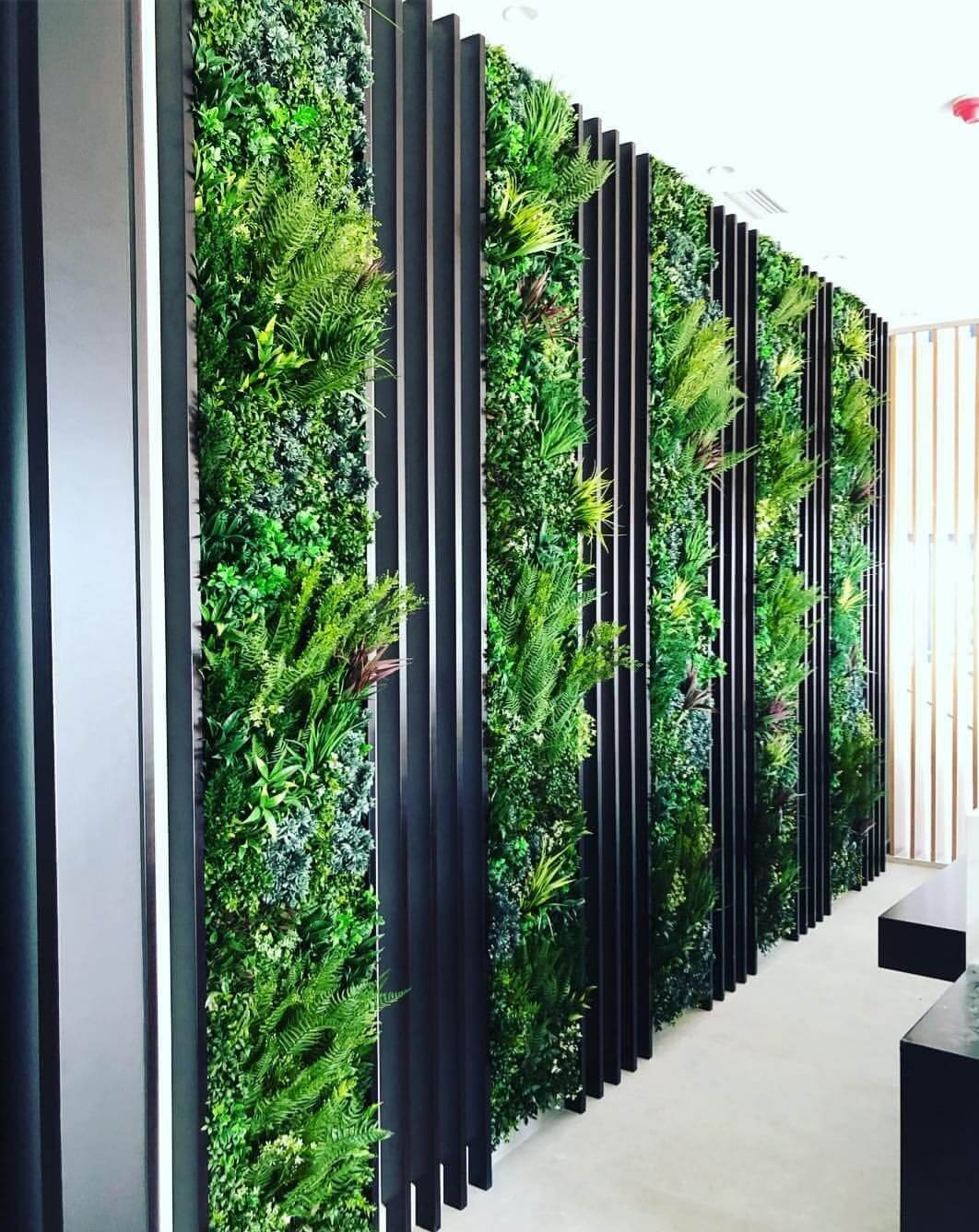 premium vertical garden installed in a office building foyer