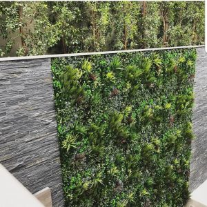stunning artificial vertical garden installed outside in a luxury home