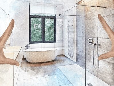 Bathroom renovation ideas - person planning their bathroom reno