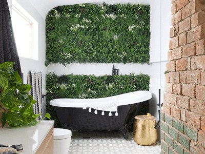 House Rules Pete and Courtney Bathroom renovation Green Tropics Wall - Rainforest green wall - Artificial green wall