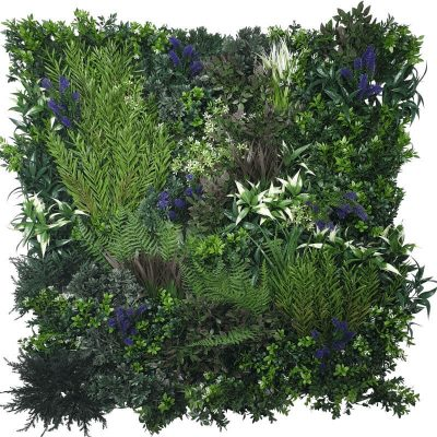 Fake Green Wall Lavender Field Vertical Garden Green Wall UV Resistant 90cm x 90cm