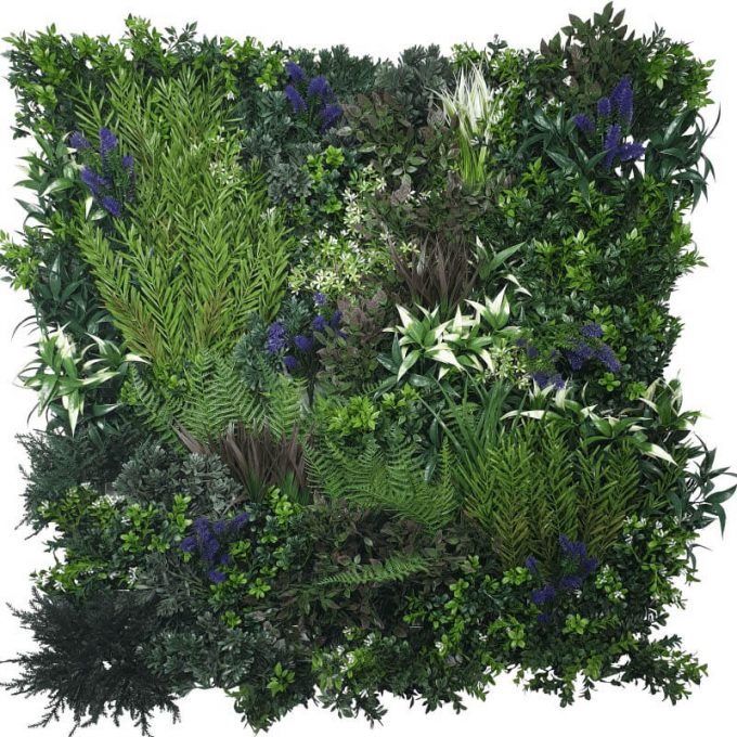 Fake Green Wall Lavender Field Vertical Garden Green Wall UV Resistant 90cm x 90cm