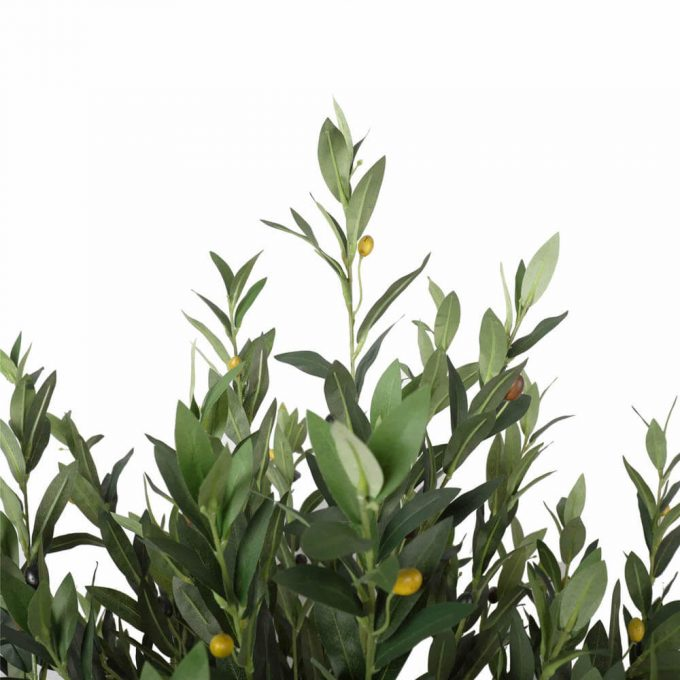 Close up foliage artificial olive tree