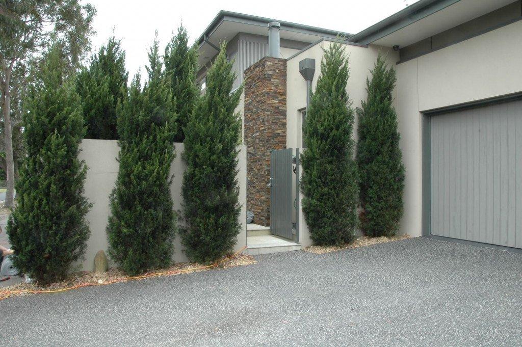 before installation of fake boxwood hedge panels