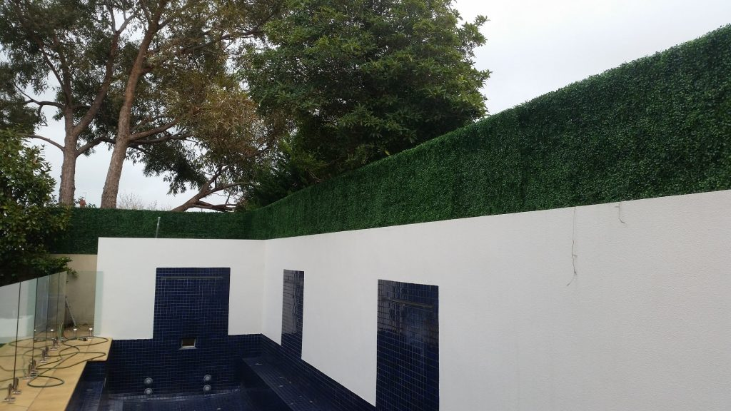 Boxwood Hedge Tile Screen Along A Pool Min