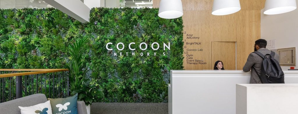 Premium green wall panel installed into an office
