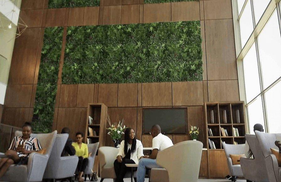 Hotel lobby vertical garden panels