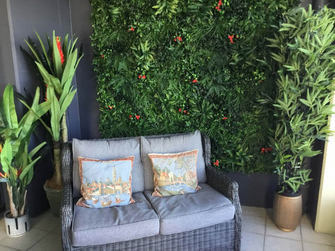 artificial green wall panel with fake bamboo