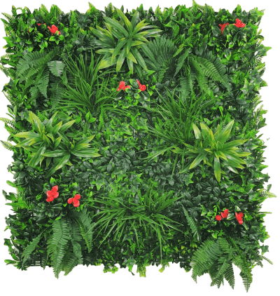red flowering rose artificial green wall panel
