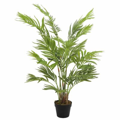 small potted fake areca palm tree