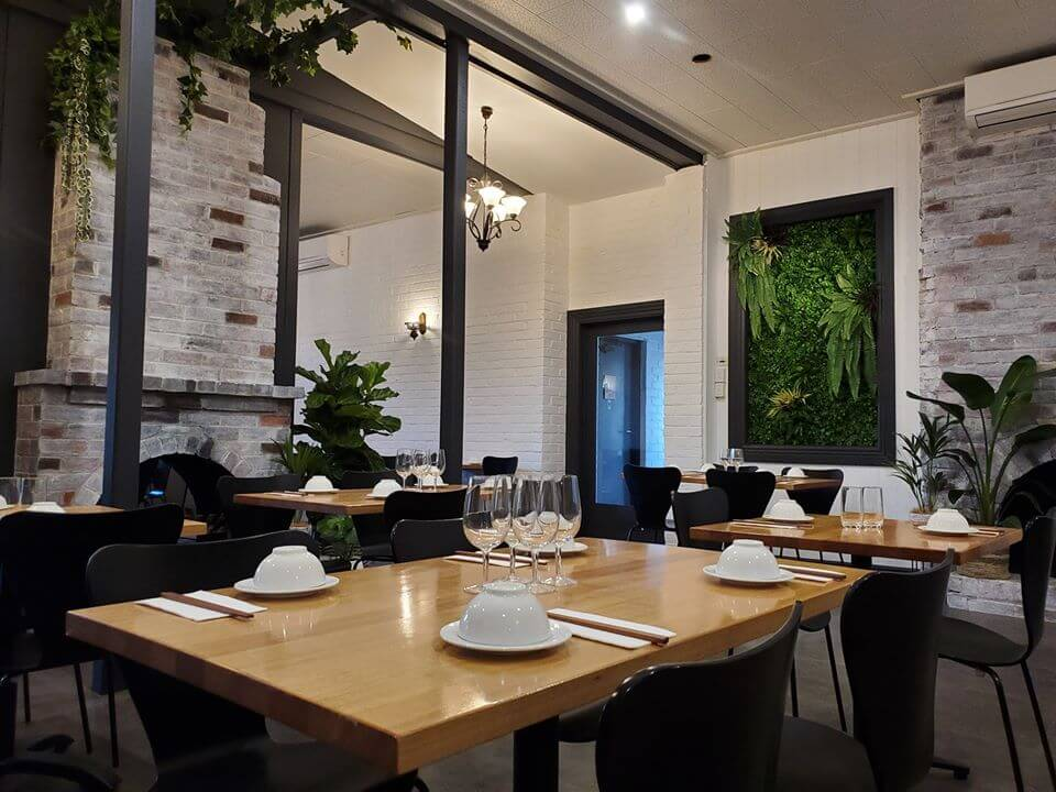 Dining Area With Artificial Plants